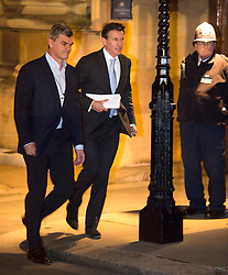 © Licensed to London News Pictures. 02/12/2015. London, UK. Lord SEBASTIAN COE (centre) leaving the Houses of Parliament in London after giving evidence before a Commons Culture Media and Sport committee on blood-doping allegations. Lord Coe, who is president of the IAAF (International Association of Athletics Federations) has come under pressure following allegations of widespread doping in athletics.   Photo credit: Ben Cawthra/LNP