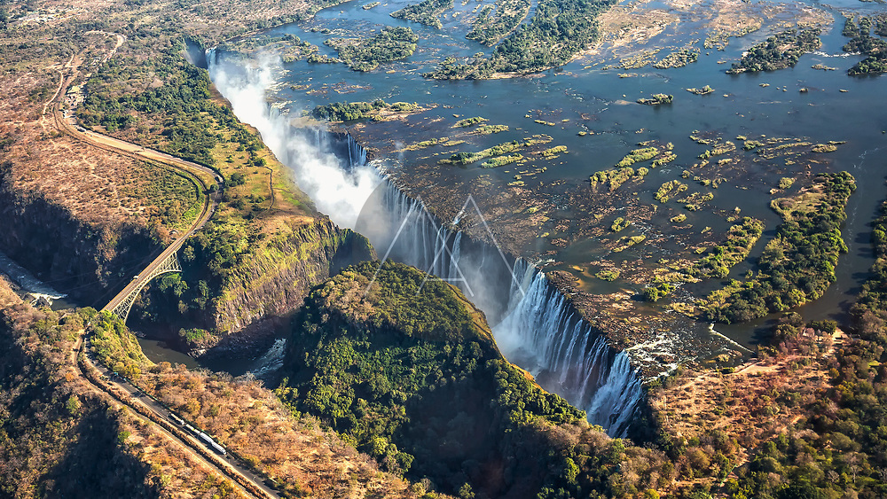 Aerial view of the Victoria Falls in Livingstone, Zambia.