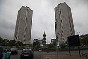 Tower blocks housing estate near to the Pagoda in central Birmingham, United Kingdom.