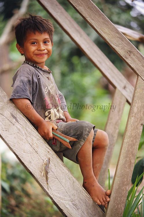 Ese'eja Indian Child<br />Sonene Community<br />Heath River, BOLIVIA/PERU Border<br />Amazon Rain Forest.  South America