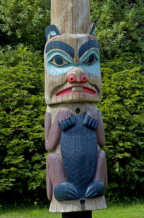 Ketchikan, Alaska. Tlingit , Haida, and Tsimshan totem poles are found throughout the Southeast Inside Passage port of call, Ketchikan.