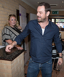 © Licensed to London News Pictures . 02/08/2015 . Droylsden Football Club , Manchester , UK . DANNY DYER arrives . Celebrity football match in aid of Once Upon a Smile and Debra , featuring teams of soap stars . Photo credit : Joel Goodman/LNP