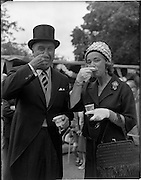 01/07/1962<br /> 07/01/1962<br /> 01 July 1962<br /> First sod turned at the new United States embassy at Ballsbridge, Dublin. Image shows American Ambassador to Ireland, Mr. Grant Stockdale and Mrs Alice Boyd Stockdale enjoying ice cream after the event. The embassy was expected to cost 1,000,000 dollars and take two years to build.