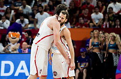 Pau Gasol of Spain and Sergio Rodriguez of Spain during basketball match between National Teams of Spain and Turkey at Day 11 in Round of 16 of the FIBA EuroBasket 2017 at Sinan Erdem Dome in Istanbul, Turkey on September 10, 2017. Photo by Vid Ponikvar / Sportida
