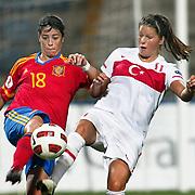 Turkey's Leyla GUNGOR (R) and Spain's Marta TORREJN (L) during their UEFA 2013 Woman's Euro Qualifying Group Stage Group 2 soccer match Turkey betwen Spain at Kasimpasa Recep Tayyip Erdogan stadium in Istanbul September 17, 2011. Photo by TURKPIX