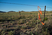 Ribbons mark what is believed to be a part of the Trans Pecos Pipeline in Alpine, Texas on June 17, 2015. (Cooper Neill for The Texas Tribune)
