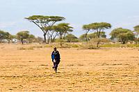 A Maasai girl walking, Ngorongoro Conservation Area, Tanzania