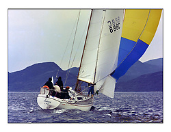 The Clyde Cruising Club's 1977 Tomatin Trophy the first Scottish Series held at Tarbert Loch Fyne.  An overnight race from Gourock to Campbeltown then on to Olympic Triangles in Loch Fyne. ..888C Hilvador of Largs .