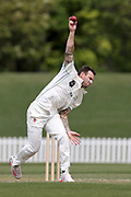 Doug Bracewell of CD bowling. Canterbury vs. Central Districts Day 2, 1st round of the 2021-2022 Plunket Shield cricket competition at Hagley Oval, Christchurch, on Sunday 24th October 2021.<br /> © Copyright Photo: Martin Hunter/ www.photosport.nz