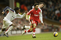 Photo: Aidan Ellis.<br /> Liverpool v Bolton Wanderers. The Barclays Premiership. 01/01/2007.<br /> Liverpool's Jermain Pennant cause problems for Bolton's Ricardo Gardener (L) and Gary Speed