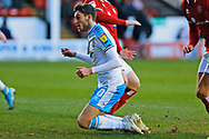 Ashley Nadesan slides in the penalty area during the EFL Sky Bet League 2 match between Walsall and Crawley Town at the Banks's Stadium, Walsall, England on 18 January 2020.