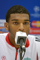 MARSEILLE, FRANCE - Friday, November 2, 2007: Liverpool's Ryan Babel at a press conference at the Stade Velodrome ahead of the final UEFA Champions League Group A match against Olympique de Marseille. Liverpool must win to progress to the knock-out stage. (Photo by David Rawcliffe/Propaganda).