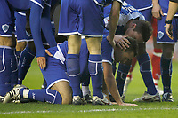 Photo: Steve Bond/Richard Lane Photography. Leicester City v Leyton Orient. Coca Cola League One. 10/01/2009. Mark Davies (kneeling) is congratulated on scoring no2, and injured
