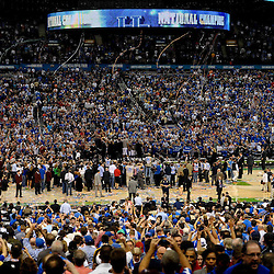 Apr 2, 2012; New Orleans, LA, USA; A general view as the Kentucky Wildcats celebrate a national championship game win over the Kansas Jayhawks 67-59 in the finals of the 2012 NCAA men's basketball Final Four at the Mercedes-Benz Superdome. Mandatory Credit: Derick E. Hingle-US PRESSWIRE