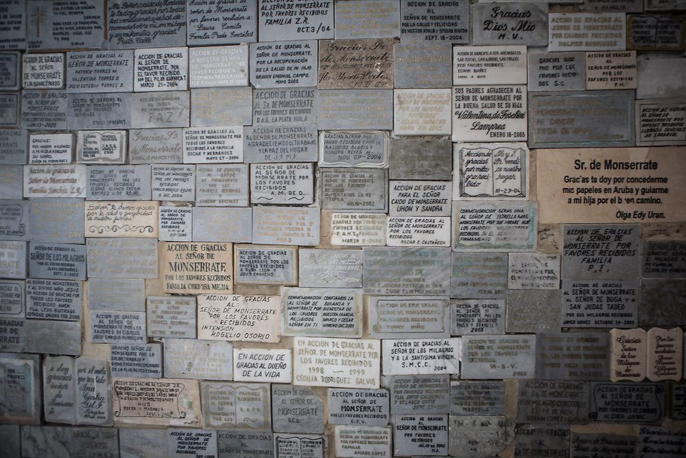 plaques expressing thanks for miracles, Montserrat, Bogota
