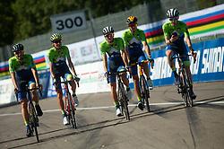 Luka Mezgec, Jani Brajkovic, Jan Polanc, Domen Novak, Tadej Pogacar of Team Slovenia during Practice session at UCI Road World Championship 2020, on September 25, 2020 in Imola, Italy. Photo by Vid Ponikvar / Sportida
