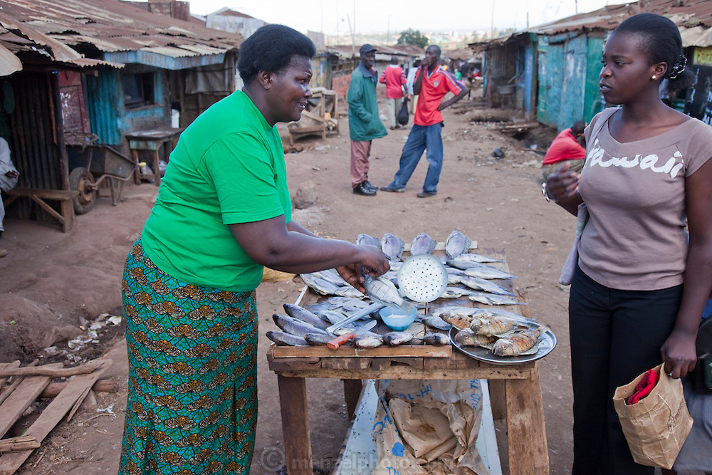 Roseline Amondi (left), a microloan recipient and mother of four, sells fried tilapia and talks to her daughter (in brown shirt) at her market stall in the Kibera slum in Nairobi, Kenya.  (Roseline Amondi is featured in the book What I Eat: Around the World in 80 Diets.) MODEL RELEASED.