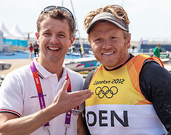 05.08.2012, Bucht von Weymouth, GBR, Olympia 2012, Segeln, im Bild HRH Crown Prince Frederik of Danemark and Silver medal winner Hoegh-Christensen Jonas, (DEN, Finn) // during Sailing, at the 2012 Summer Olympics at Bay of Weymouth, United Kingdom on 2012/08/05. EXPA Pictures © 2012, PhotoCredit: EXPA/ Daniel Forster ***** ATTENTION for AUT, CRO, GER, FIN, NOR, NED, .POL, SLO and SWE ONLY!