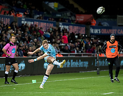2nd November, Liberty Stadium , Swansea, Wales ; Guinness pro 14's Ospreys Rugby v Glasgow Warriors ;  Brandon Thomson of Glasgow Warriors converts<br /> <br /> Credit: Simon King/News Images<br /> <br /> Photographer Simon King/Replay Images<br /> <br /> Guinness PRO14 Round 8 - Ospreys v Glasgow Warriors - Friday 2nd November 2018 - Liberty Stadium - Swansea<br /> <br /> World Copyright © Replay Images . All rights reserved. info@replayimages.co.uk - http://replayimages.co.uk