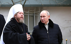 November 18, 2018 - Pechory, Pskov region, Russia - November 18, 2018. - Russia, Pskov region, Pechory. - Russian President Vladimir Putin during his visit to the Pskov-Caves Monastery. Left: Metropolitan Tikhon of Pskov and Porkhov. (Credit Image: © Russian Look via ZUMA Wire)