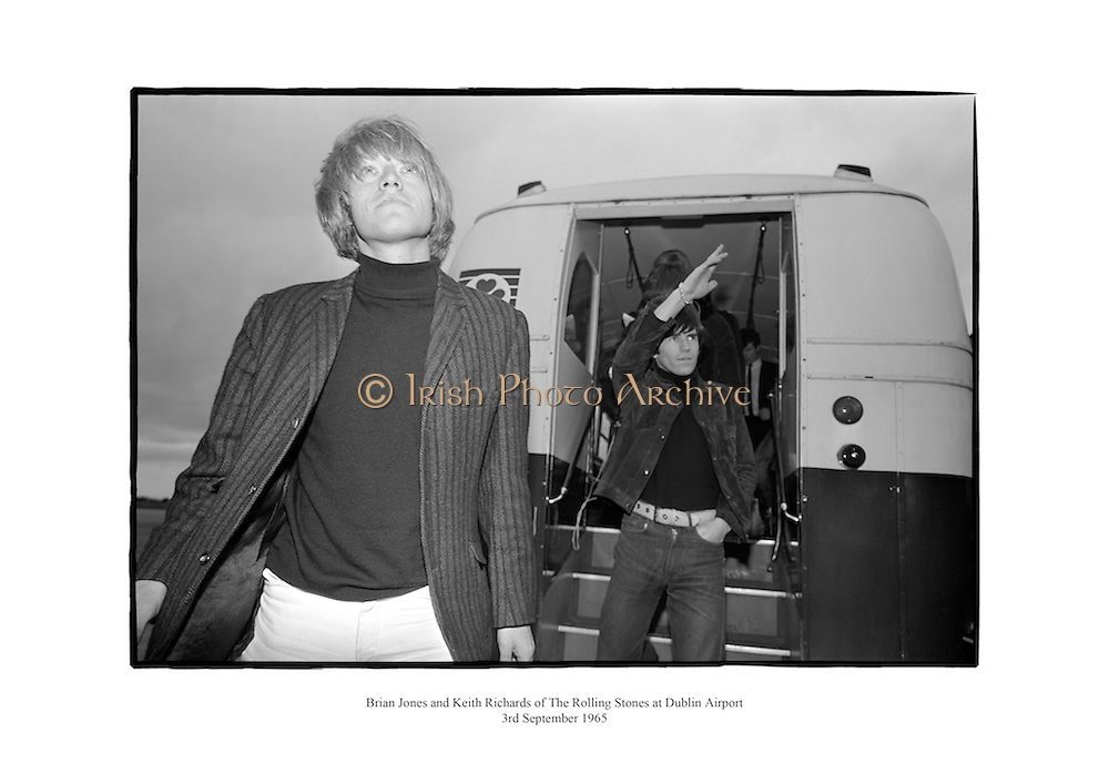 Brian Jones and Keith Richards of The Rolling Stones at Dublin Airport.<br /> <br /> 3rd September 1965<br /> 03/09/1965