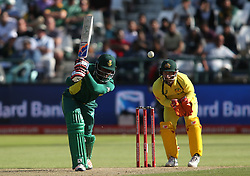 Andile Phehlukwayo of South Africa drives a delivery during the 5th ODI match between South Africa and Australia held at Newlands Stadium in Cape Town, South Africa on the 12th October  2016<br /> <br /> Photo by: Shaun Roy/ RealTime Images