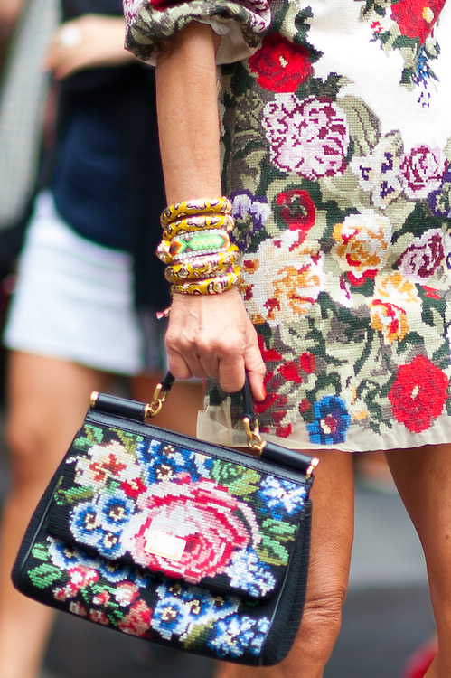 Needlepoint Dolce & Gabbana Dress and Bag, Outside the Show