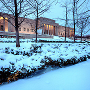 Kansas City's Nelson Atkins Museum of Art, original building and Bloch addition at right, sunset in the snow, Sunday, February 9, 2014.