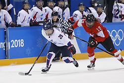 February 18, 2018 - Pyeongchang, KOREA - Korea forward Jingyu Lee (29) and Switzerland defenseman Christine Meier (19) in a hockey game between Switzerland and Korea during the Pyeongchang 2018 Olympic Winter Games at Kwandong Hockey Centre. Switzerland beat Korea 2-0. (Credit Image: © David McIntyre via ZUMA Wire)