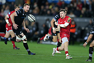 Steffan Evans of the Scarlets ®. Guinness Pro14 rugby match, Ospreys v Scarlets at the Liberty Stadium in Swansea, South Wales on Saturday 7th October 2017.<br /> pic by Andrew Orchard, Andrew Orchard sports photography.