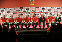 Rugby Union - 2017 British & Irish Lions Tour to New Zealand - Squad & Captain Announcement Press Conference<br /> <br /> The Lions Backroom staff : l-r Graham Rowntree, Rob Howley, Steve Borthwick , Neil Jenkins , Andy Farrell, Coach Warren Gatland ,Captain Sam Warburton and Lions Tour Manager, John Spencer at the Hilton Syon Park, London.<br /> <br /> COLORSPORT/ANDREW COWIE