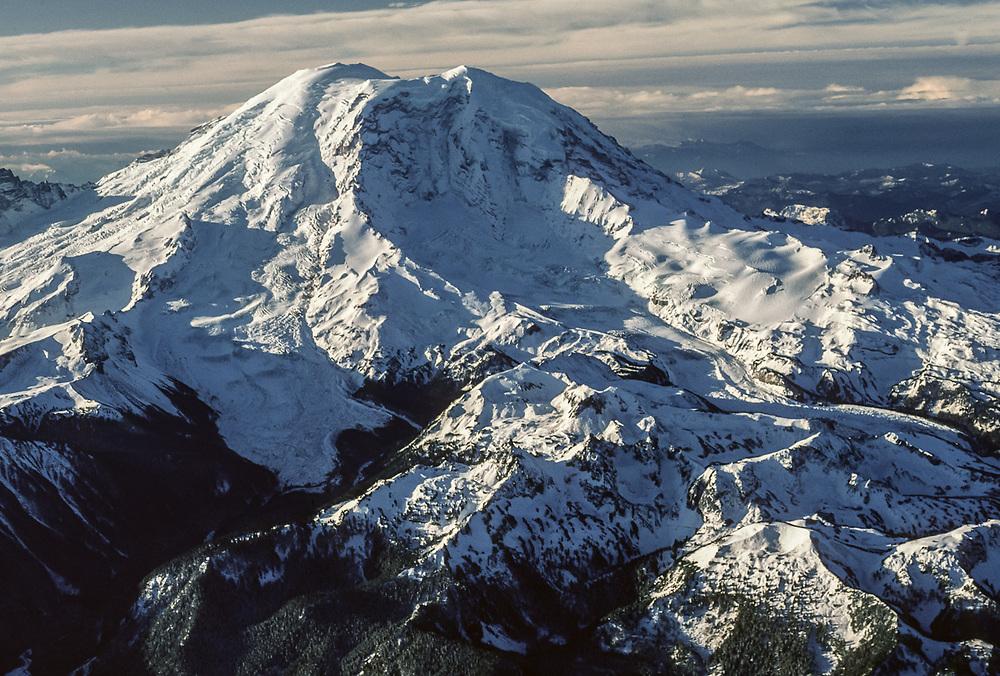 Aerial view of Mount Rainier, January, Mount Rainier National Park, Washington, USA
