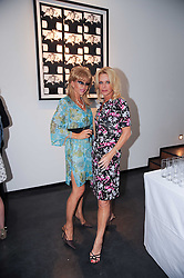 Left to right, SALLY FARMILOE and TRICIA WAlSH SMITH at a private view of photographs by David Bailey entitled 'Then' held at Hamiltons, 13 Carlos Place, London W1 on 6th July 2010.