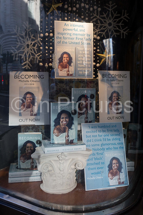 A display of books in the window of Waterstones in Piccadilly, for the eagerly-anticipated bestselling title, Becoming by the former First Lady of the United States, Michelle Obama, before her December publicity tour of the UK, on 13th November 2018, in London, England.