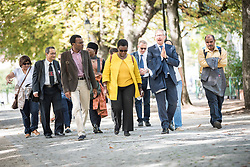 22 September 2017, Geneva, Switzerland: A group of colleagues from the World Council of Churches visit the Reformation Wall, in central Geneva.
