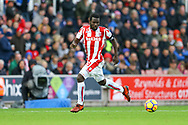 Mame Biram Diouf of Stoke City in action. Premier league match, Stoke City v Leicester City at the Bet365 Stadium in Stoke on Trent, Staffs on Saturday 4th November 2017.<br /> pic by Chris Stading, Andrew Orchard sports photography.