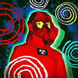 Man with Radiation Suit and Mask with retro atomic futuristic Starry space background