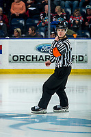 KELOWNA, BC - FEBRUARY 15: Referee Matt Hicketts enters the ice for second period at the Kelowna Rockets against the Red Deer Rebels at Prospera Place on February 15, 2020 in Kelowna, Canada. (Photo by Marissa Baecker/Shoot the Breeze)
