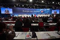 """26 JAN 2014, BERLIN/GERMANY:<br /> Uebersicht waehrend der Rede zur Einbringung des Leitantrags """"Europa"""" von Martin Schulz (M), SPD, Praesident des Europaeischen Parlamentes und Spitzenkandidat zur Europawahl, a.o. SPD Bundesparteitag, Arena Berlin<br /> IMAGE: 20140126-01-225<br /> KEYWORDS: party congress, Parteitag, Übersicht"""
