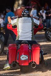 Leaving the Harley-Davidson Editors Choice bike show at the Broken Spoke Saloon. Daytona Bike Week 75th Anniversary event. FL, USA. Wednesday March 9, 2016.  Photography ©2016 Michael Lichter.