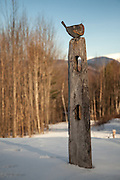 Mixed media artist Sally Jo Pollard's Bird on a Post. This one sold in a matter of days after we took this image. Beautiful work and was so fun to photograph with the white mountains in the background