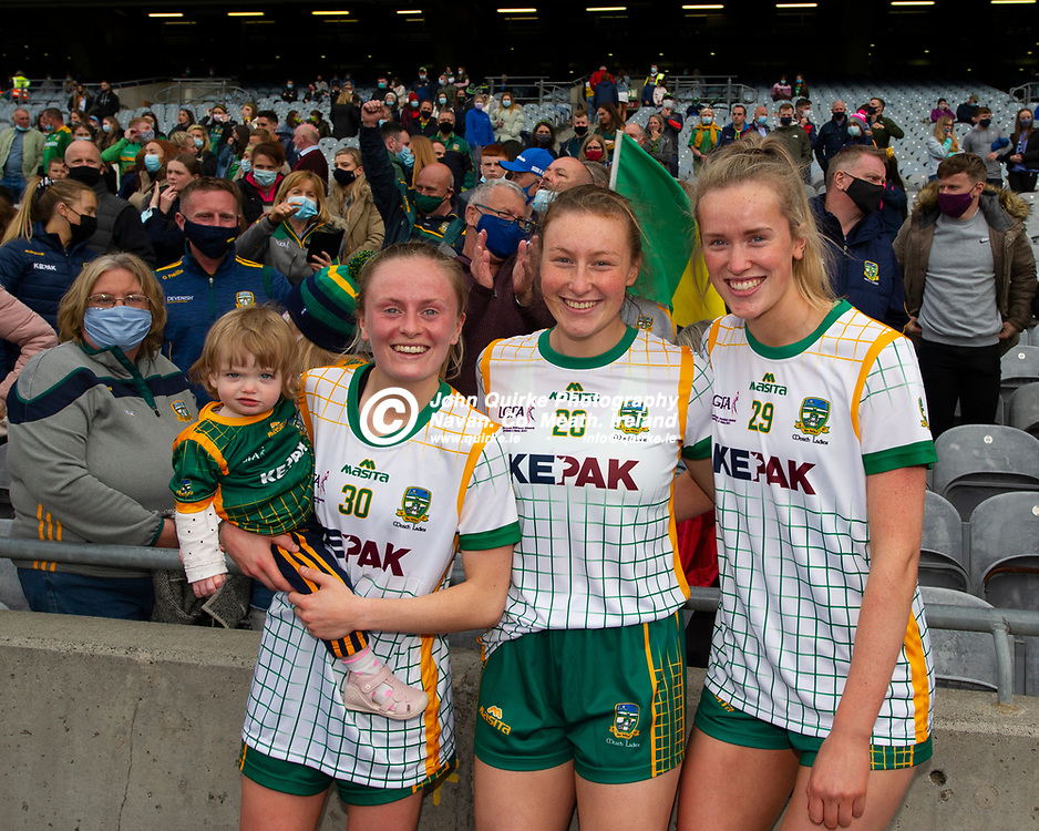 26-06-21. Meath v Kerry - Lidl Ladies National Football League Division 2 Final at Croke Park.<br /> Megan Thynne, Ali Sherlock and Aisling McCabe celebrating. <br /> Photo: John Quirke / www.quirke.ie<br /> ©John Quirke Photography, 16 Proudstown Road, Navan. Co. Meath. (info@quirke.ie / 046-9028461 / 087-2579454).