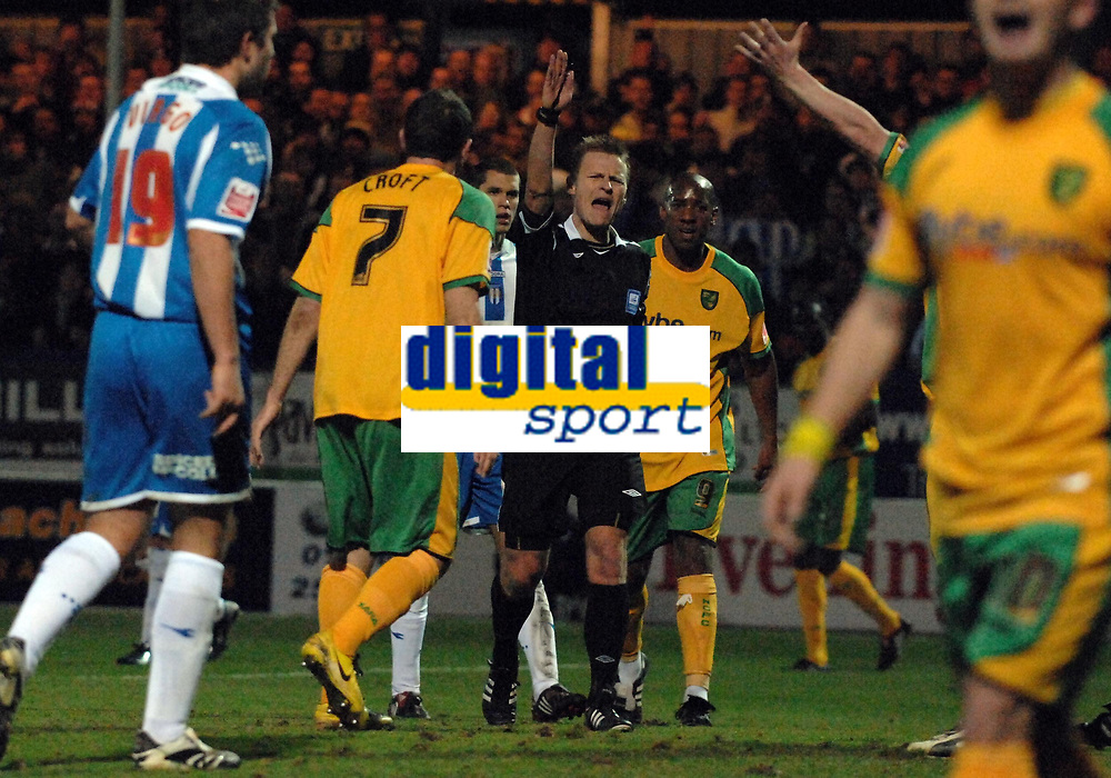 Photo: Ashley Pickering/Sportsbeat Images.<br /> Colchester United v Norwich City. Coca Cola Championship. 15/12/2007.<br /> Referee M Jones turns down a penalty appeal by Norwich after Lee Croft is dragged down in the box