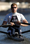Seville. SPAIN, 18.02.2007, GBR M1X Matt WELLS, moves away from the start pontoon during Sunday morning's  heats, at the FISA Team Cup, held on the River Guadalquiver course. [Photo Peter Spurrier/Intersport Images]    [Mandatory Credit, Peter Spurier/ Intersport Images]. , Rowing Course: Rio Guadalquiver Rowing Course, Seville, SPAIN,