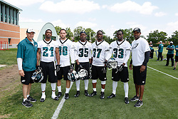 A Group Photo of the Defensive Backs who attended the Philadelphia Eagles NFL football rookie camp at the teams practice facility on Saturday, May 17, 2014. (Photo by Brian Garfinkel)