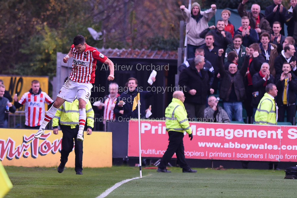 Exeter's Graham Cummins celebrates after he scores his teams 2nd goal. Skybet football league two match, Newport county v Exeter city at Rodney Parade in Newport, South Wales on Sunday 16th November 2014.<br /> pic by Andrew Orchard, Andrew Orchard sports photography.