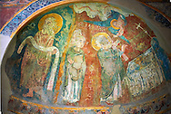 Romanesque frescoes of Apse of St. Steven of Andorra (Sant Esteve) from the church of Sant Esteve d'Andorra, painted around 1200-1210,  Andorra la Vella. National Art Museum of Catalonia, Barcelona. MNAC 35711 .<br /> <br /> If you prefer you can also buy from our ALAMY PHOTO LIBRARY  Collection visit : https://www.alamy.com/portfolio/paul-williams-funkystock/romanesque-art-antiquities.html<br /> Type -     MNAC     - into the LOWER SEARCH WITHIN GALLERY box. Refine search by adding background colour, place, subject etc<br /> <br /> Visit our ROMANESQUE SCULPTURE PHOTO COLLECTION for more   photos  to download or buy as prints https://funkystock.photoshelter.com/gallery/Romanesque-Statue-Sculptures-Pictures-Images/G0000ezFHYeF_xRI/C0000YpKXiAHnG2k .<br /> <br /> If you prefer you can also buy from our ALAMY PHOTO LIBRARY  Collection visit : https://www.alamy.com/portfolio/paul-williams-funkystock/romanesque-art-antiquities.html<br /> Type -     MNAC     - into the LOWER SEARCH WITHIN GALLERY box. Refine search by adding background colour, place, subject etc<br /> <br /> Visit our ROMANESQUE ART PHOTO COLLECTION for more   photos  to download or buy as prints https://funkystock.photoshelter.com/gallery-collection/Medieval-Romanesque-Art-Antiquities-Historic-Sites-Pictures-Images-of/C0000uYGQT94tY_Y