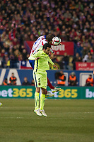 Atletico de Madrid´s Mario Suarez and Barcelona´s Sergio Busquets during 2014-15 Spanish King Cup match between Atletico de Madrid and Barcelona at Vicente Calderon stadium in Madrid, Spain. January 28, 2015. (ALTERPHOTOS/Luis Fernandez)