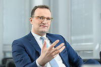 05 MAY 2021, BERLIN/GERMANY:<br /> Jens Spahn, CDU, Bundesgesundheitsminister, wahrend einem Interview, in seinem Buero, Bundesministerium fur Gesundheit<br /> IMAGE: 202105005-01-017