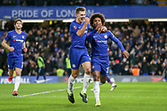 GOAL - Chelsea Midfielder Willian celebrates his penalty with Chelsea Defender Cesar Azpilicueta 1-0 during the The FA Cup fourth round match between Chelsea and Sheffield Wednesday at Stamford Bridge, London, England on 27 January 2019.